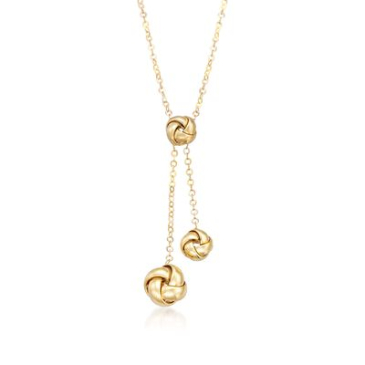 Italian 14kt Yellow Gold Love Knot Lariat Necklace, , default