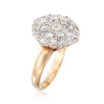 C. 1920 Vintage 1.10 ct. t.w. Diamond Cluster Ring in 14kt Two-Tone Gold. Size 5.75