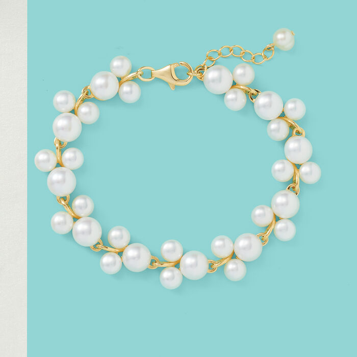 5-7.5mm Cultured Pearl Trio Bracelet in 18kt Gold Over Sterling Silver