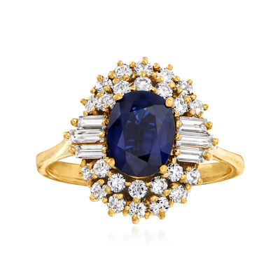 C. 1980 Vintage 1.54 Carat Sapphire and .88 ct. t.w. Diamond Ring in 14kt Yellow Gold