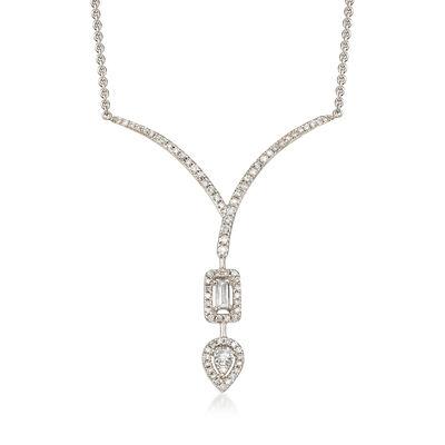 .41 ct. t.w. Diamond Chevron Teardrop Necklace in 18kt White Gold, , default
