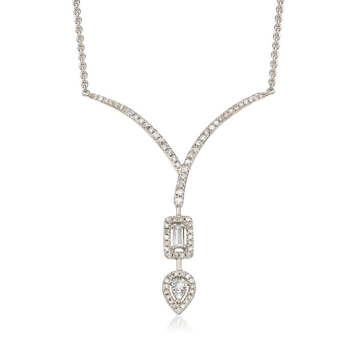 .41 ct. t.w. Diamond Chevron Teardrop Necklace in 18kt White Gold