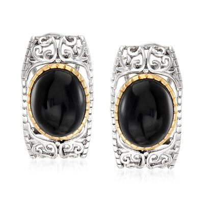 Black Onyx Earrings in Sterling Silver with 14kt Gold