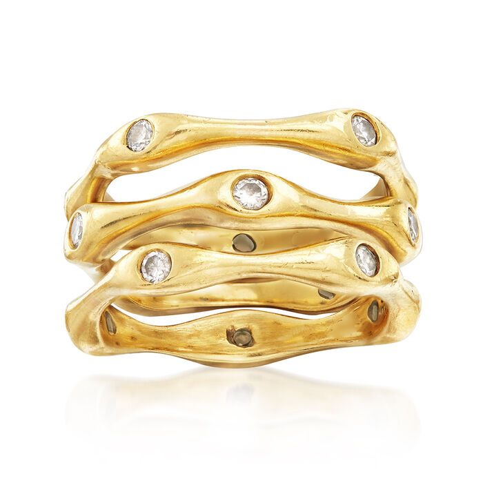 C. 1990 Vintage .50 ct. t.w. Diamond Ring Set: Three Bamboo Bands in 18kt Yellow Gold. Size 6.5, , default
