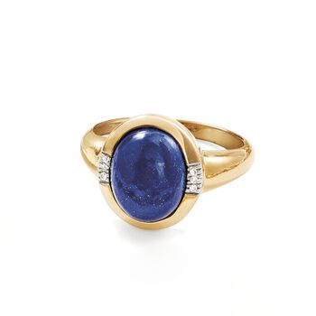 Lapis Ring with Diamond Accents in 14kt Yellow Gold, , default