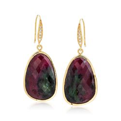 38.00 ct. t.w. Ruby-In-Zoisite and .10 ct. t.w. Diamond Drop Earrings in 18kt Gold Over Sterling, , default