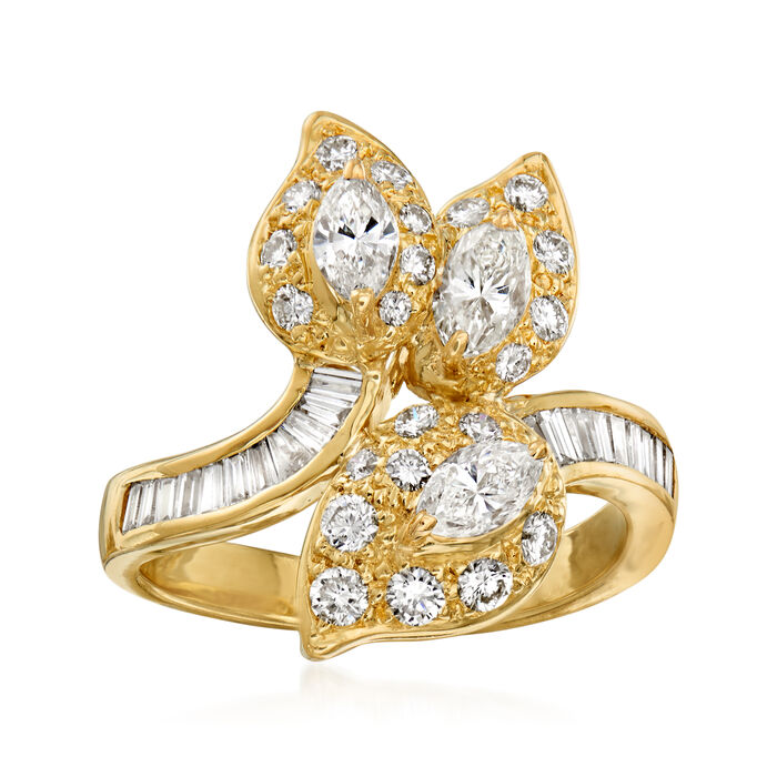 C. 1980 Vintage 1.55 ct. t.w. Diamond Leaf Ring in 18kt Yellow Gold. Size 6