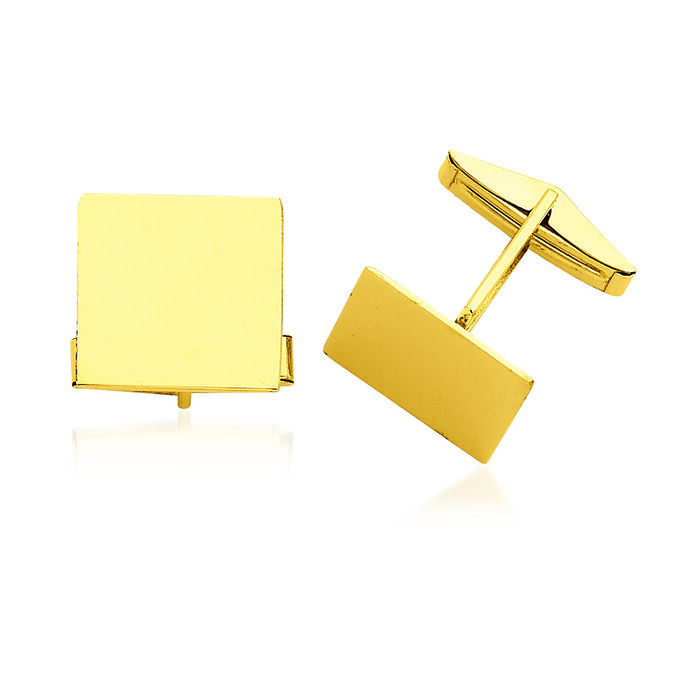 14kt Yellow Gold Three-Initial Square Cuff Links, , default