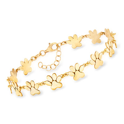 Italian 18kt Gold Over Sterling Paw Print Bracelet