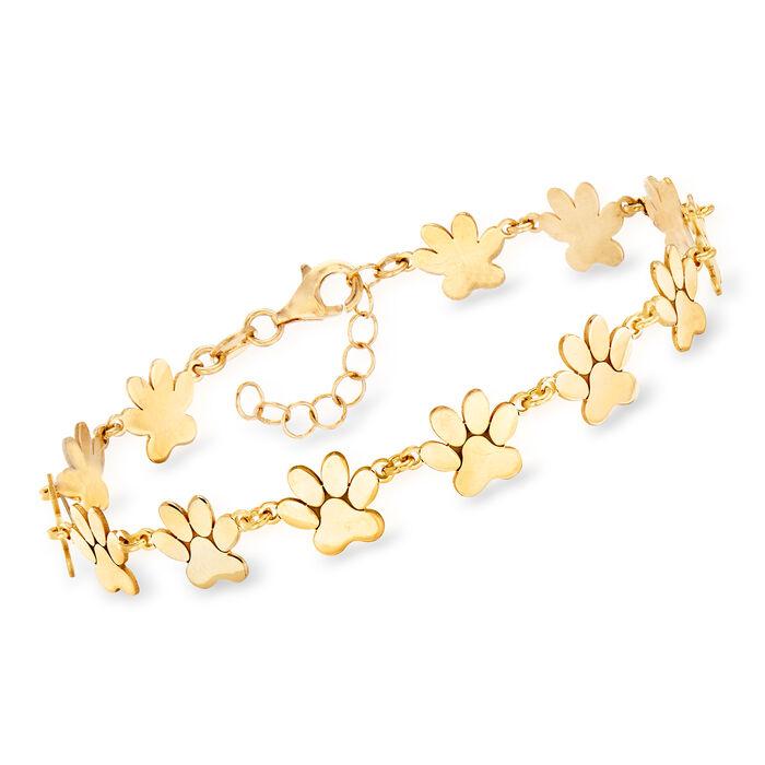 """Italian 18kt Gold Over Sterling Paw Print Bracelet. 7"""""""