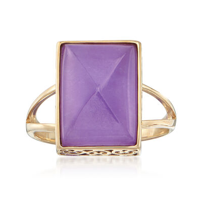Sugarloaf Cabochon Lavender Jade Ring in 14kt Yellow Gold, , default