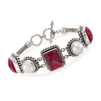 """12mm Mabe Pearl and 33.50 ct. t.w. Ruby Bracelet in Sterling Silver. 7"""", , default"""