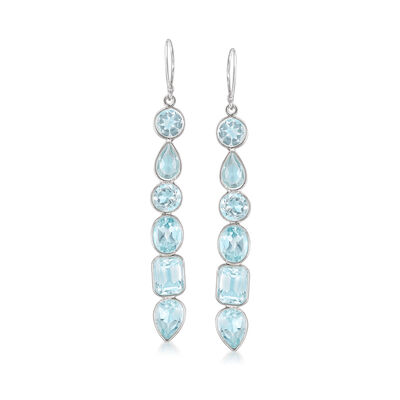 12.90 ct. t.w. Multi-Shaped Blue Topaz Drop Earrings in Sterling Silver, , default