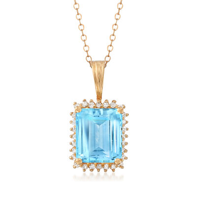 C. 1980 Vintage 7.50 Carat Blue Topaz and .35 ct. t.w. Diamond Pendant Necklace in 14kt Yellow Gold, , default
