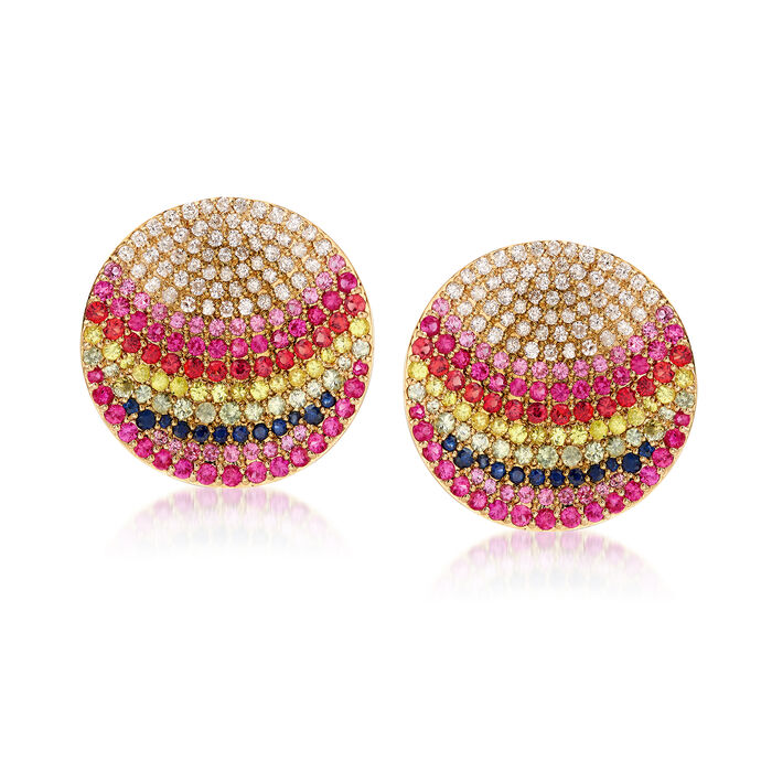 4.80 ct. t.w. Multicolored Sapphire and 1.27 ct. t.w. Diamond Earrings in 18kt Yellow Gold, , default