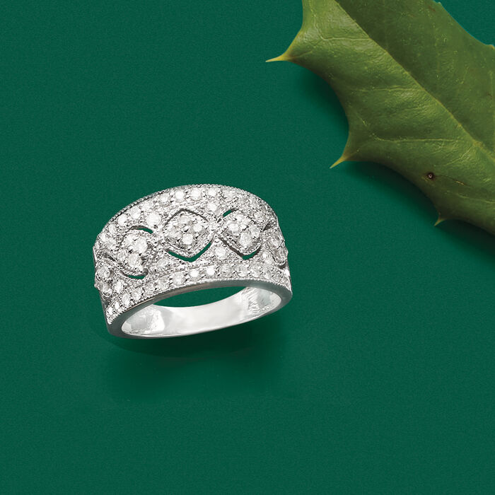 1.00 ct. t.w. Diamond Openwork Flower Ring in Sterling Silver
