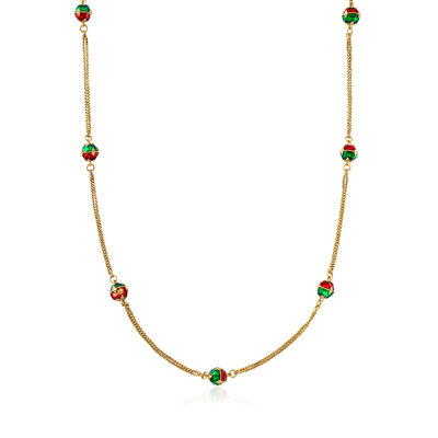 C. 1980 Vintage Red and Green Enamel Station Necklace in 20kt Yellow Gold