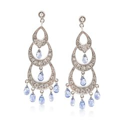 C. 2000 Vintage 4.20 ct. t.w. Sapphire and 1.00 ct. t.w. Diamond Chandelier Earrings in 18kt White Gold, , default