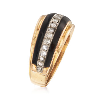 C. 1960 Vintage 1x22 Onyx Ring with .35 ct. t.w. Diamonds in 18kt Yellow Gold. Size 6.25, , default