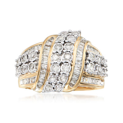 1.00 ct. t.w. Round and Baguette Diamond Ribbon Ring in 18kt Gold Over Sterling Silver, , default
