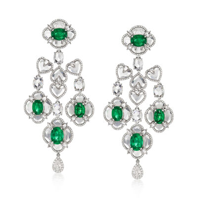 Rock Crystal, 7.86 ct. t.w. Diamond and 7.50 ct. t.w. Emerald Chandelier Earrings in 18kt White Gold