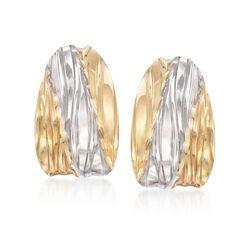 Italian 14kt Two-Tone Gold Diamond-Cut Hoop Earrings, , default