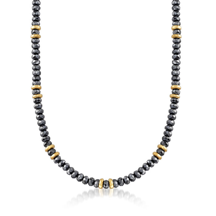 "Italian Hematite Beaded Necklace in 18kt Yellow Gold Over Sterling Silver. 20"", , default"