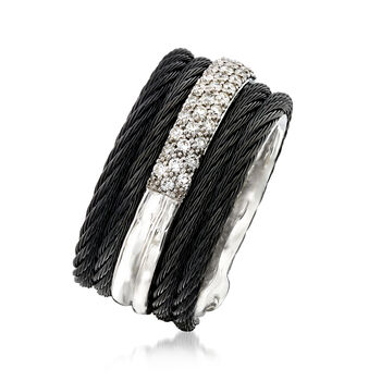 """ALOR """"Noir"""" .28 ct. t.w. Diamond Black Stainless Steel Cable Ring with 18kt White Gold. Size 6, , default"""