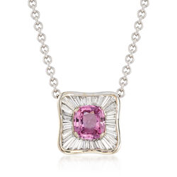 """C. 1990 Vintage 2.65 Carat Pink Sapphire and 1.50 ct. t.w. Diamond Necklace in 18kt White Gold. 18.5"""", , default"""