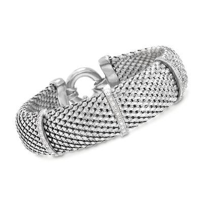 Italian .15 ct. t.w. Diamond Bar Mesh Bracelet in Sterling Silver, , default