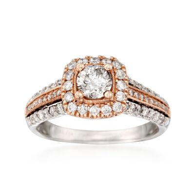 .95 ct. t.w. Diamond Halo Ring in 14kt Two-Tone Gold