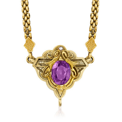 C. 1920 Vintage 3.50 Carat Amethyst Necklace with Black Enamel and Seed Pearl in 14kt Yellow Gold