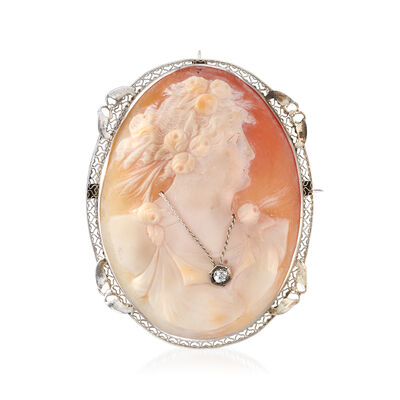 C. 1950 Vintage Shell Cameo and .10 Carat Diamond Pin/Pendant in 14kt White Gold, , default
