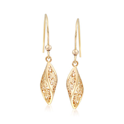 Italian 14kt Yellow Gold Twisted Lace Drop Earrings, , default