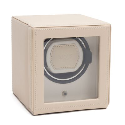 """Cub Winder"" Cream Saffiano Finish Single Watch Winder with Cover by Wolf Designs, , default"