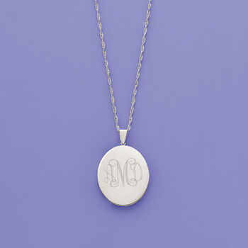 Sterling Silver Personalized Floral Locket Pendant Necklace
