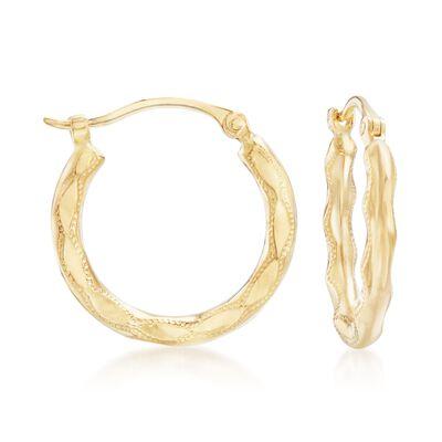 14kt Yellow Gold Wavy Hoop Earrings, , default