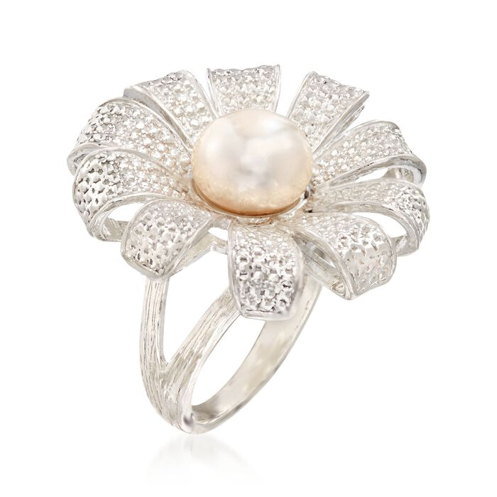9-9.5mm Cultured Pearl Flower Ring in Sterling Silver