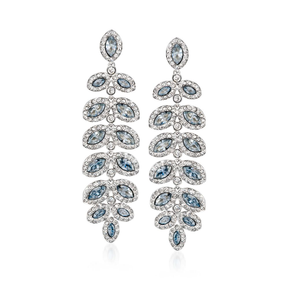 c52e92a88a3c8d Swarovski Crystal  quot Baron quot  Blue and Clear Crystal Leaf Drop  Earrings in Silvertone