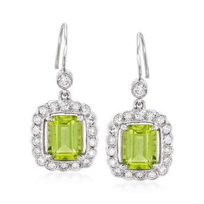 C. 1990 Vintage 3.35 ct. t.w. Peridot and .80 ct. t.w. Diamond Drop Earrings in 18kt White Gold