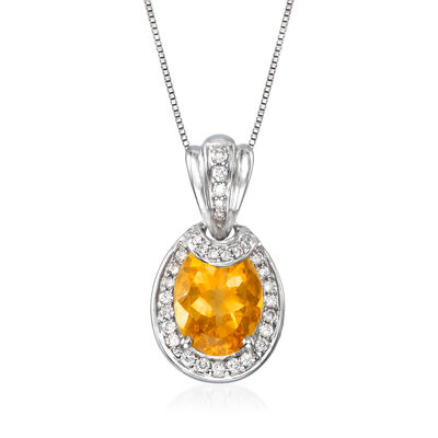 C. 1990 Vintage 2.50 Carat Citrine and .25 ct. t.w. Diamond Pendant Necklace in 14kt White Gold, , default