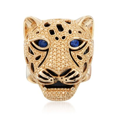 .10 ct. t.w. Sapphire and Black Onyx Cheetah Ring in 14kt Yellow Gold , , default