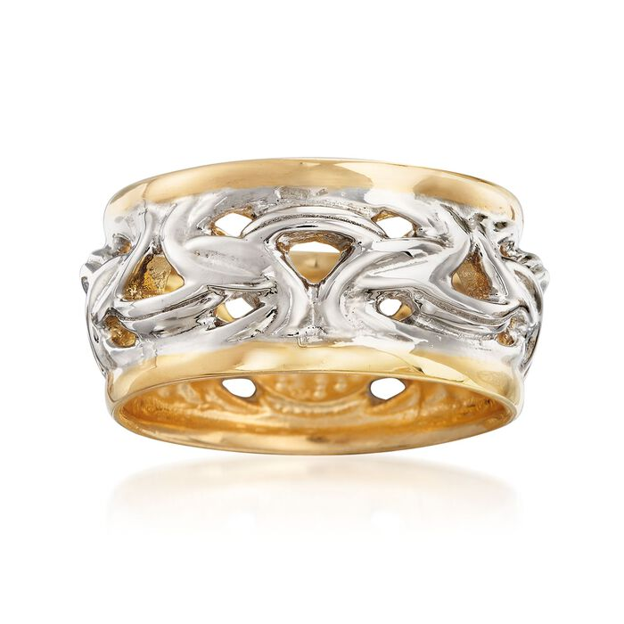 Italian Two-Tone Sterling Silver Byzantine Ring, , default