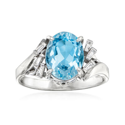 C. 2000 Vintage 2.12 Carat Aquamarine and .13 ct. t.w. Diamond Ring in Platinum