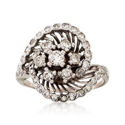 C. 1960 Vintage 1.50 ct. t.w. Diamond Swirl Ring in 14kt White Gold. Size 9.5, , default