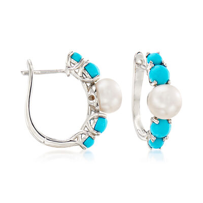 6.5-7mm Cultured Pearl and Turquoise Hoop Earrings in Sterling Silver