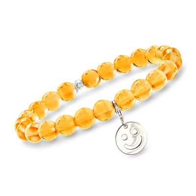 Italian Yellow Murano Glass Bead Stretch Bracelet with Sterling Silver Smiley Charm, , default