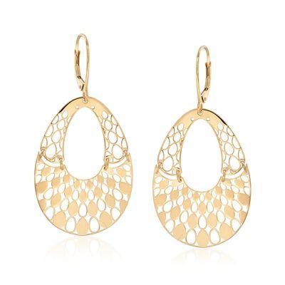Italian 14kt Yellow Gold Pear-Shaped Openwork Drop Earrings , , default