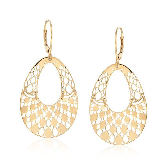 Italian 14kt Yellow Gold Pear-Shaped Openwork Drop Earrings, , default