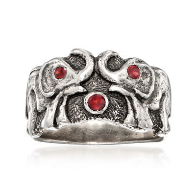 .15 ct. t.w. Garnet Double Elephant Ring in Sterling Silver